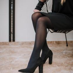 Zamša kurpes uz papēža spīdumiņi, papēdis 10,5 cm