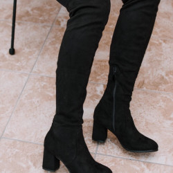 Melni zamša garie zābaki, papēdis 7cm