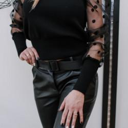 Melns džemperis ar caurspīdīgām - pumpainām rociņām ...