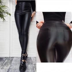 Melnas ādas bikses ar augsto jostas vietu - GOODIES