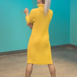 Dzeltena adīta kleita