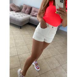 Balti džinsa šorti ar augsto jostas vietu