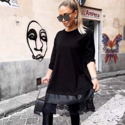Melna brīvā stila kleita ar mežģīni