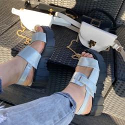 Platformas kurpes sudrabotas krāsas, platforma 6cm