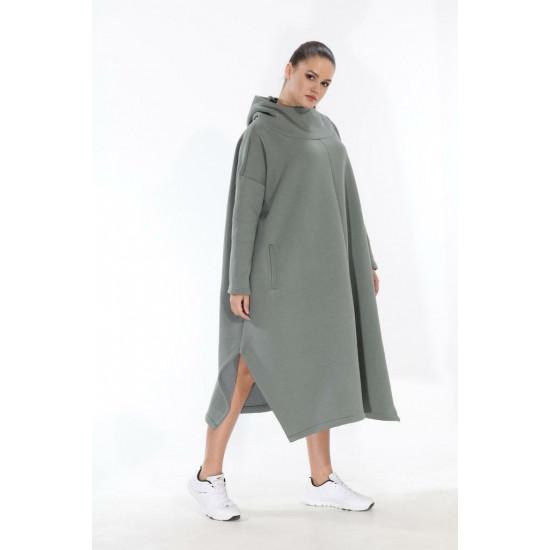 Brīvā stila silts džemperis ar kapuci, haki krāsa