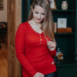 Sarkans džemperis ar podziņām