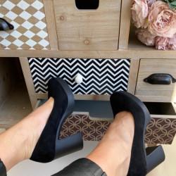 Zamša kurpes uz papēdi, papēdis 9cm - platforma 2cm