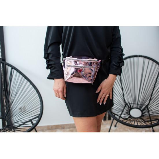 Spīdīga , rozā gurnu somiņa