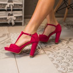 Fuksijas krāsas kurpes uz papēdi, papēdis 10,5 cm