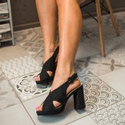 Melnas kurpes uz papēdi, papēdis 10,5 cm