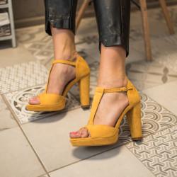 Dzeltenas augstpapēźu kurpes - papēdis 10,5 cm