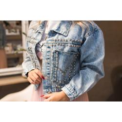 Zila džinsa jaka ar kniedēm