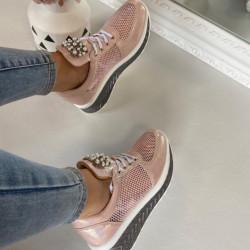 Maigi rozā Platformas kurpes ar pērlītēm