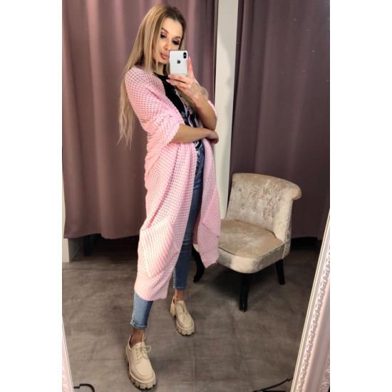 Rozā , adīta kardigana jaka - One size