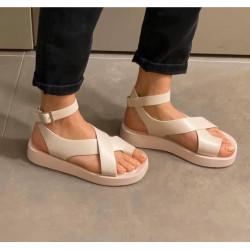 Bēšas, gumijotas sandales