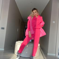 Rozā krāsas komplekts 3in1, bikses, jaka, veste