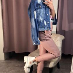 Tumši zila džinsa jaka ar plēsumiem