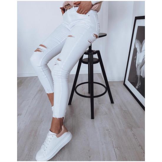 Baltas džinsa bikses ar plēsumiem, materiāls elastīgs