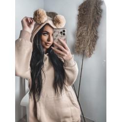 Brīvā stila džemperis ar austiņām
