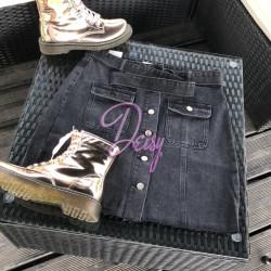 Melni džinsa svārki ar pogām